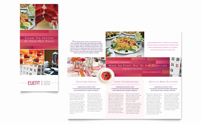 Flyer Samples for An event Unique Corporate event Planner & Caterer Tri Fold Brochure
