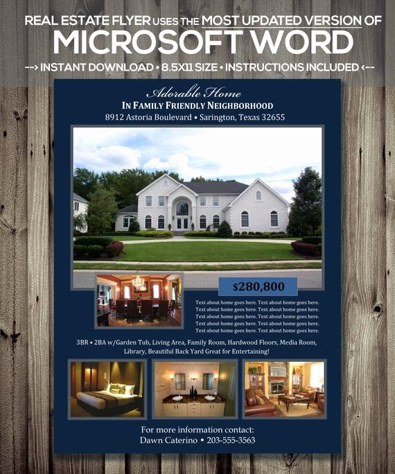 Flyer Template for Word Beautiful Real Estate Flyer Template Microsoft Word Cx Version