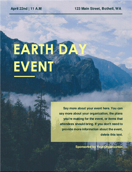 Flyers Templates Microsoft Word Lovely Earth Day event Flyer