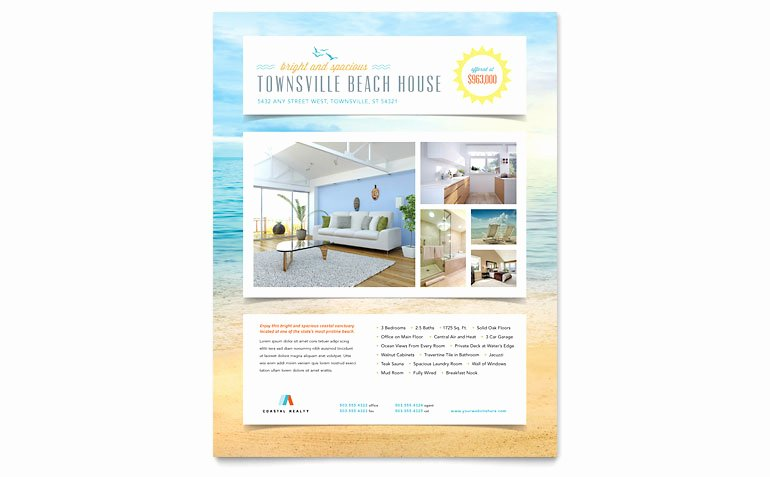 Flyers Templates Microsoft Word New Beach House Flyer Template Word & Publisher