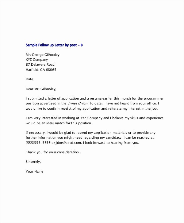 Follow Up Letter Template Fresh 10 Sample Thank You Follow Up Letters Free Sample