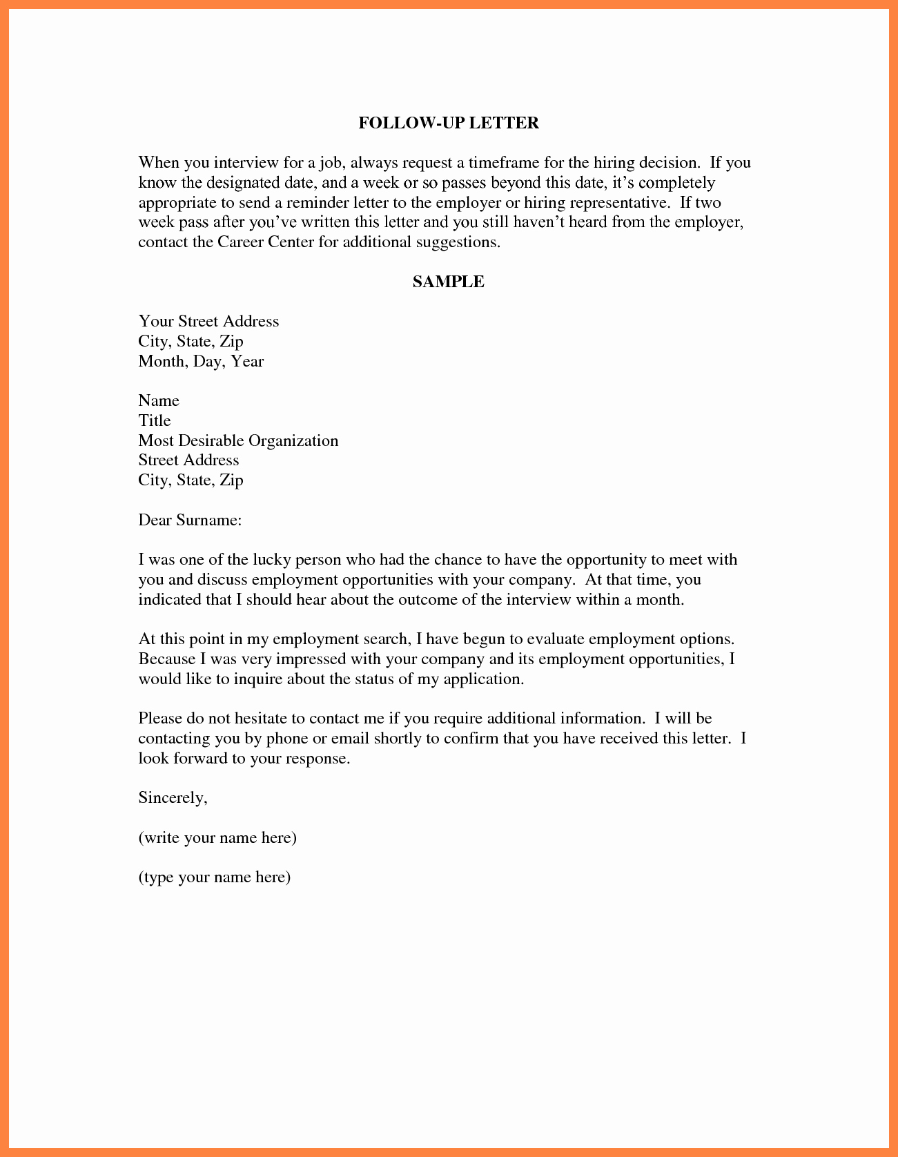 Follow Up Letter Template Lovely 9 Interview Followup Email