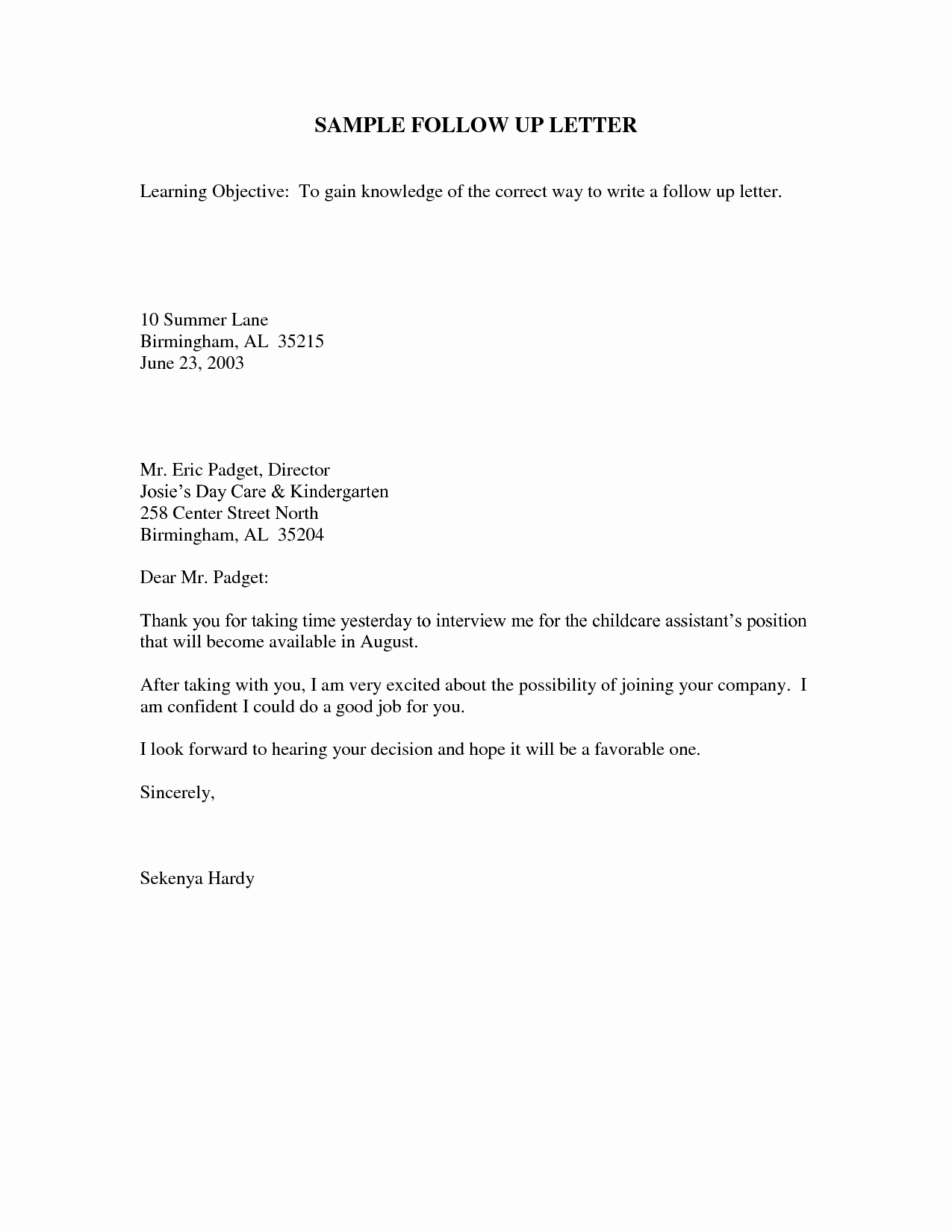 Follow Up Letter Template New Follow Up Email after Interview