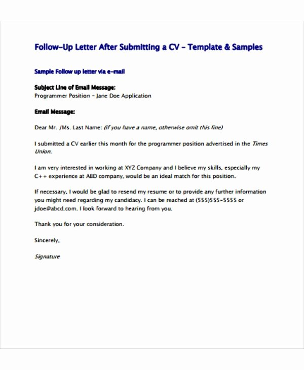 Follow Up Letter Template Unique Follow Up Letter