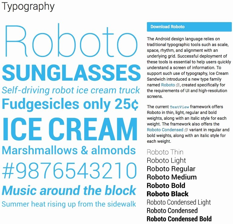Fonts Style for android New android Roboto Fonts Examples