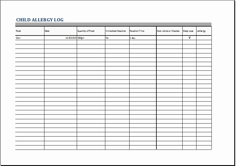Food Allergy List Template Awesome Child Allergy Log Template for Excel
