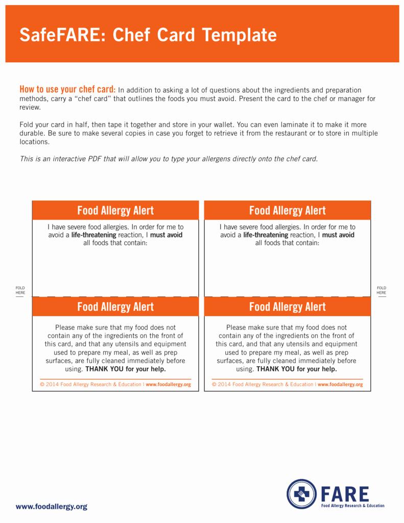 Food Allergy List Template Best Of Safefare Chef Card Template Food Allergy Research