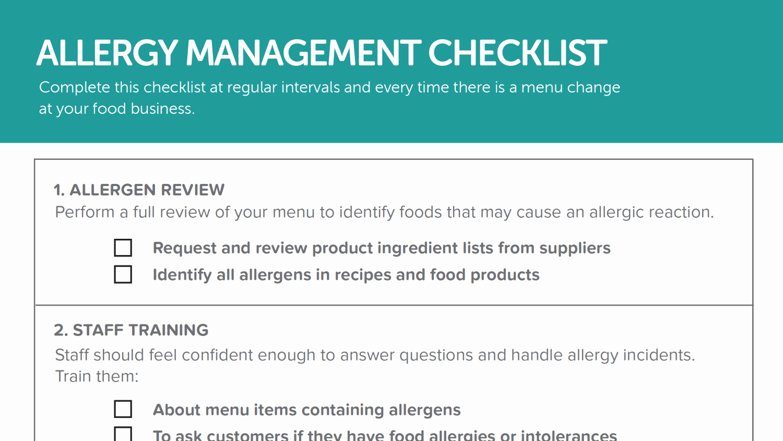 Food Allergy List Template Lovely Allergy Management Checklist