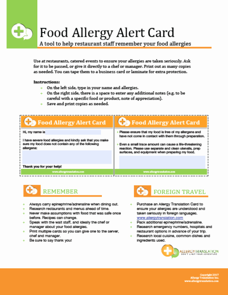 Food Allergy List Template New Free English Food Allergy Alert Card Simple and Quick