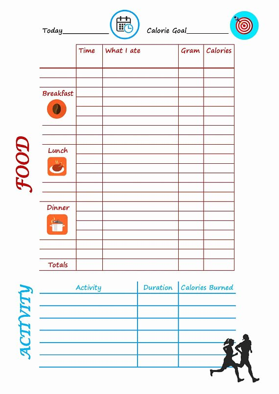 Food and Activity Log Awesome Daily Food and Activity Tracker Meal Diary Activity Log