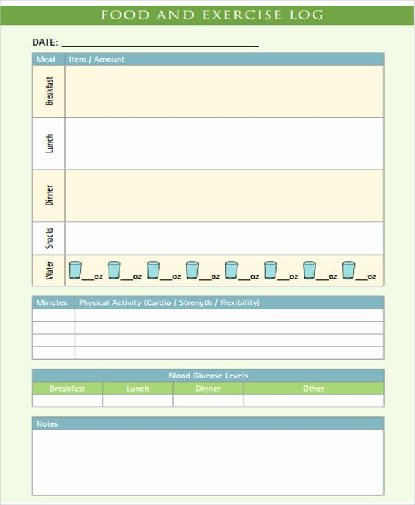 Food and Activity Log Best Of 31 Daily Log Templates