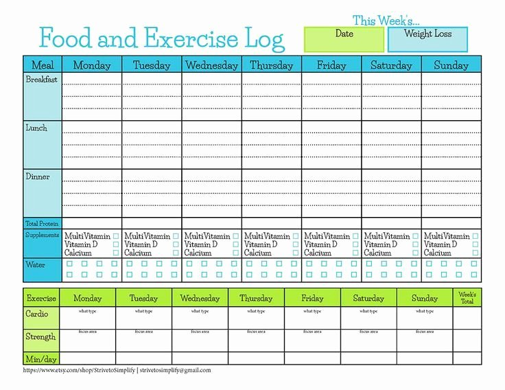 Food and Activity Log Best Of Bariatric Surgery Weekly Food Exercise Tracker