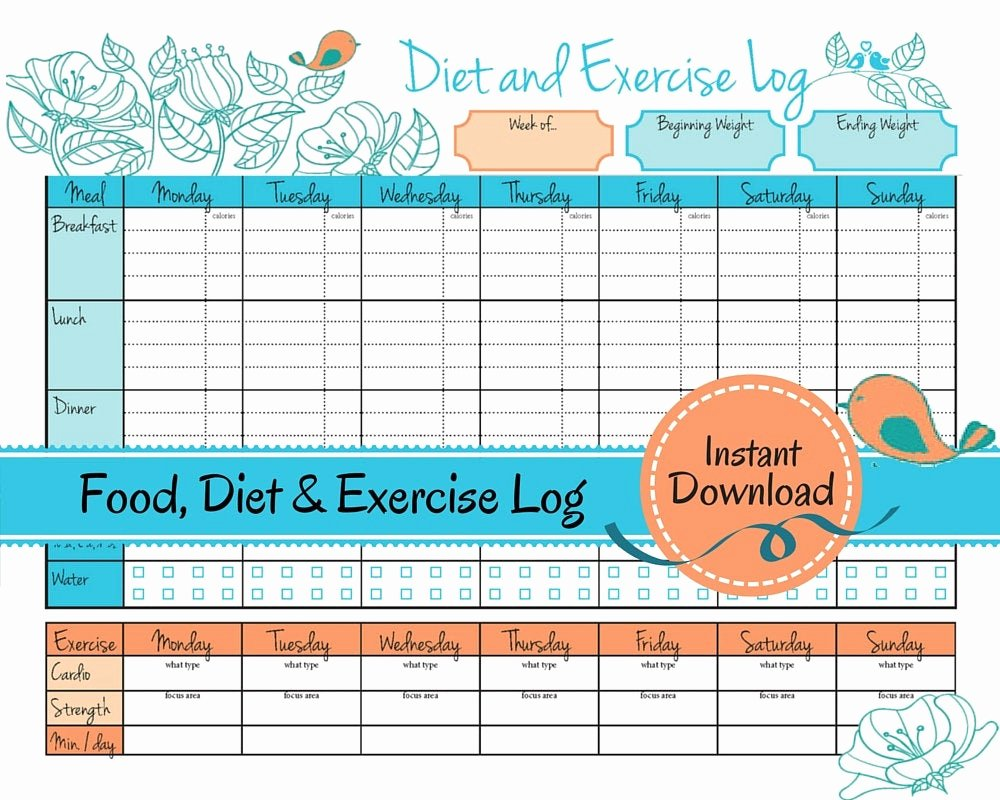 Food and Activity Log Fresh Weight Loss Journal Food Diet Exercise Log T Log Food
