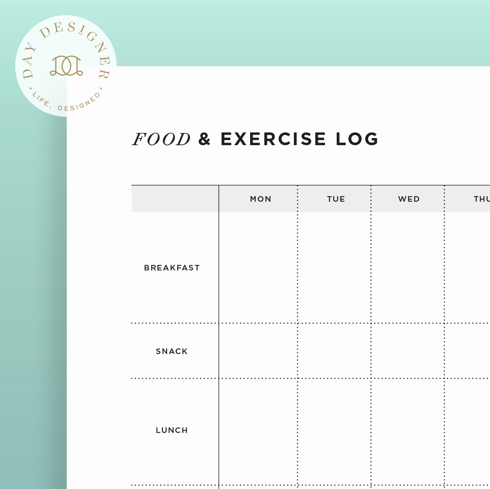 Food and Activity Log Inspirational Food and Exercise Log – Day Designer