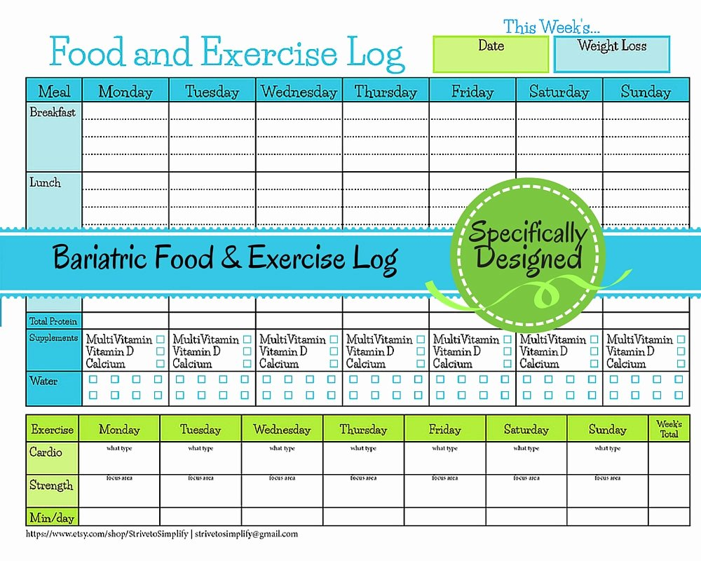 Food and Activity Log New Bariatric Surgery Weekly Food Exercise Tracker Weigh Loss