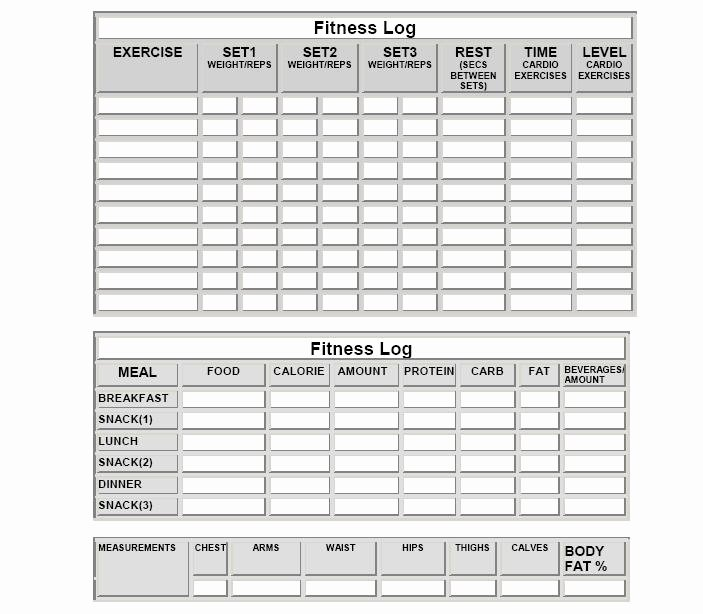 Food and Activity Log New Fitness Logs