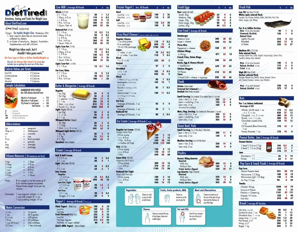Food Calorie Chart Lovely Food Calorie Chart