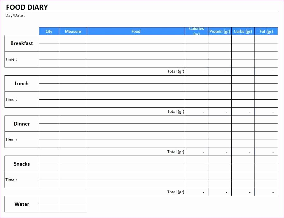 Food Diary Template Word Awesome 12 Excel Food Diary Template Exceltemplates Exceltemplates