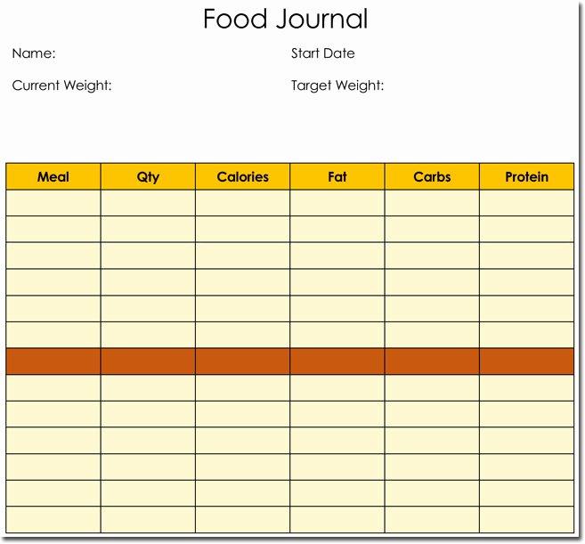 Food Diary Template Word Elegant Food Diary Log Journal Templates