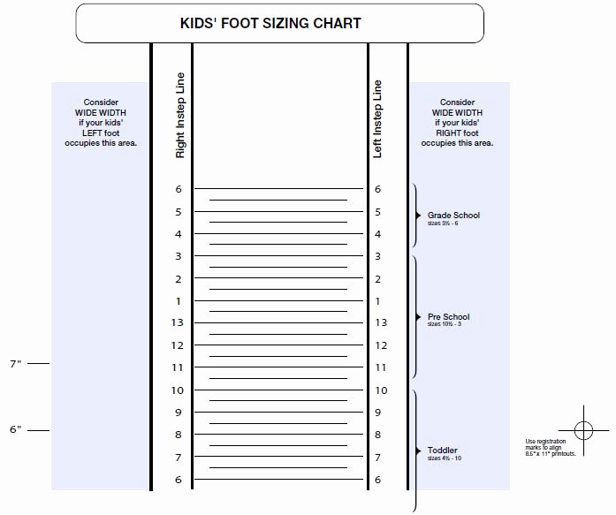 Foot Measurement Chart Printable New Printable Shoe Size Chart