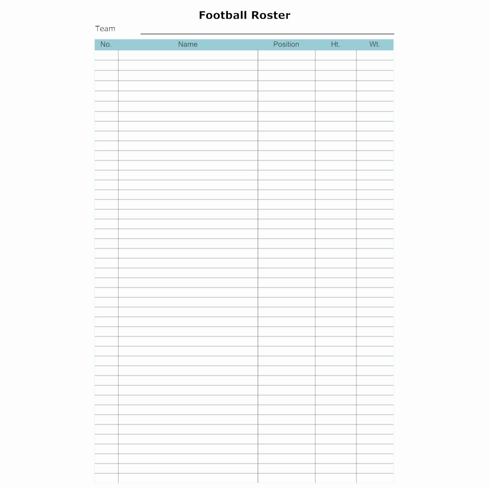 Football Team Roster Template Best Of Football Roster