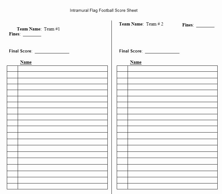 Football Team Roster Template Elegant Score Sheet for Football 2019