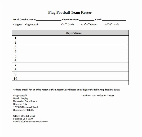 Football Team Roster Template Lovely Team Roster Template Free Download Aashe