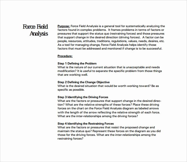 Force Field Analysis Template Word Awesome 7 force Field Analysis Templates Pdf Word