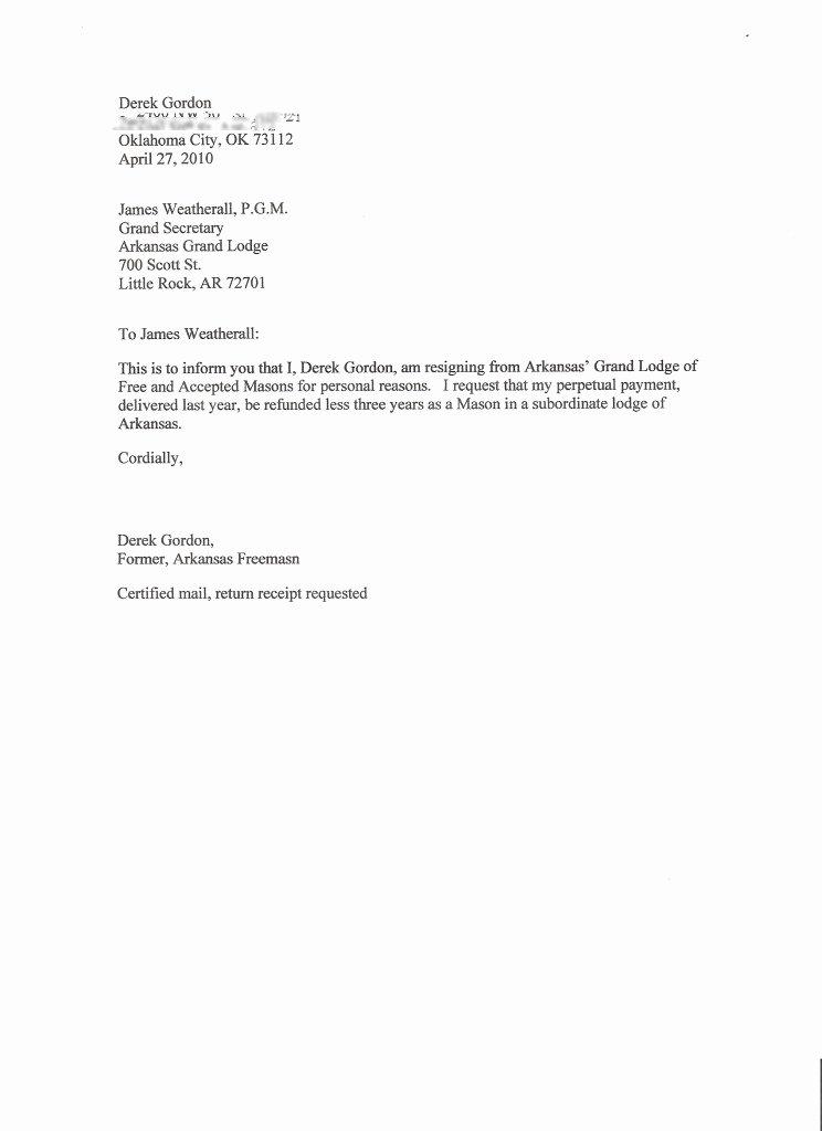 Form Letter Of Resignation Awesome I Resign Brother Derek Gordon S Story