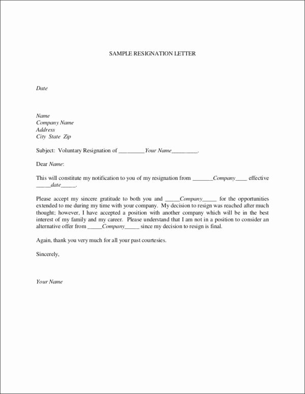 Form Letter Of Resignation Elegant Free 33 Printable Resignation Letter Samples & Templates