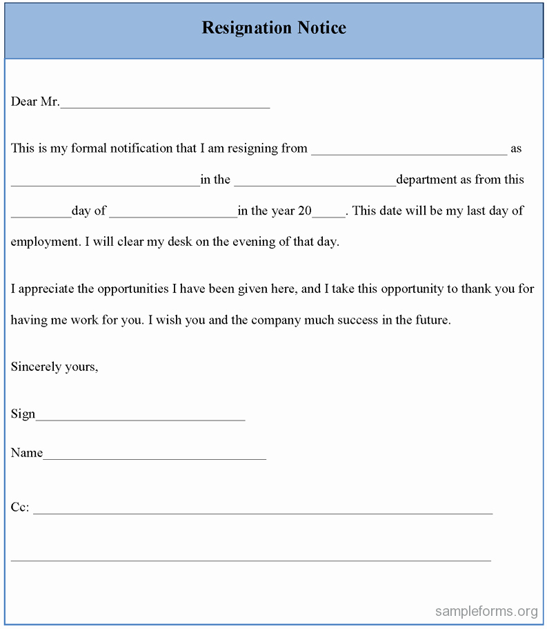 Form Letter Of Resignation Lovely Resignation Notice form Sample forms