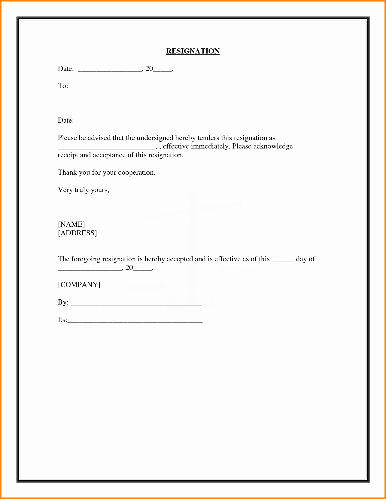 Form Letter Of Resignation Unique 28 Of Template Employee Quit form