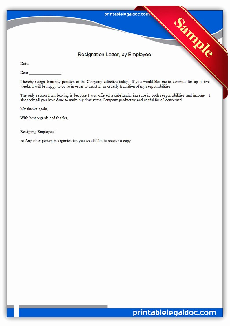 resignation letterby employee
