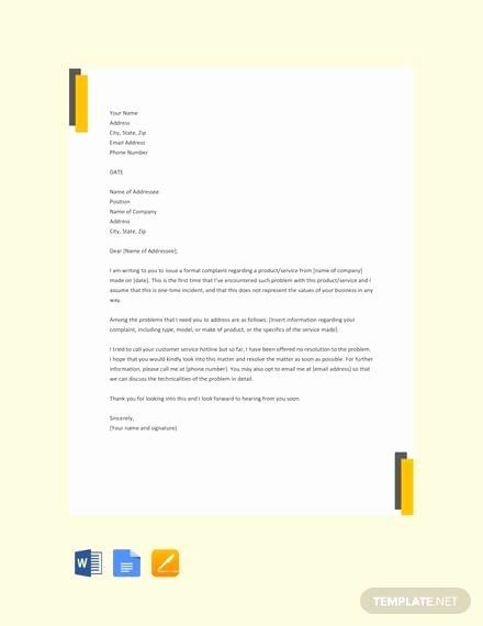 Formal Complaint Letter Template Beautiful 13 Sample formal Plaint Letters Pdf Word Apple