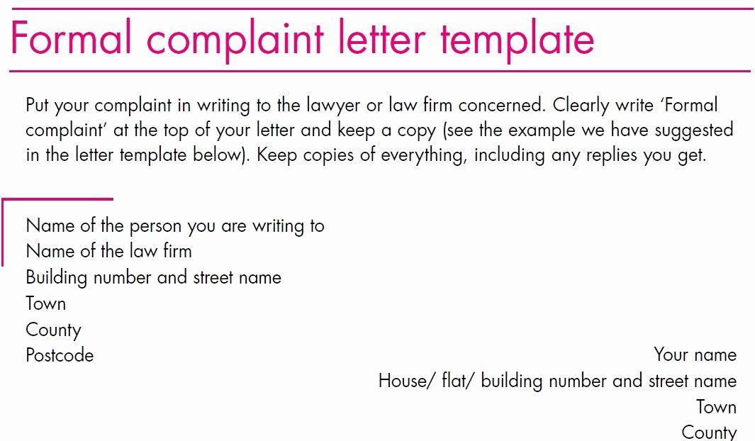 Formal Complaint Letter Template Beautiful Plaint Letter Template October 2012