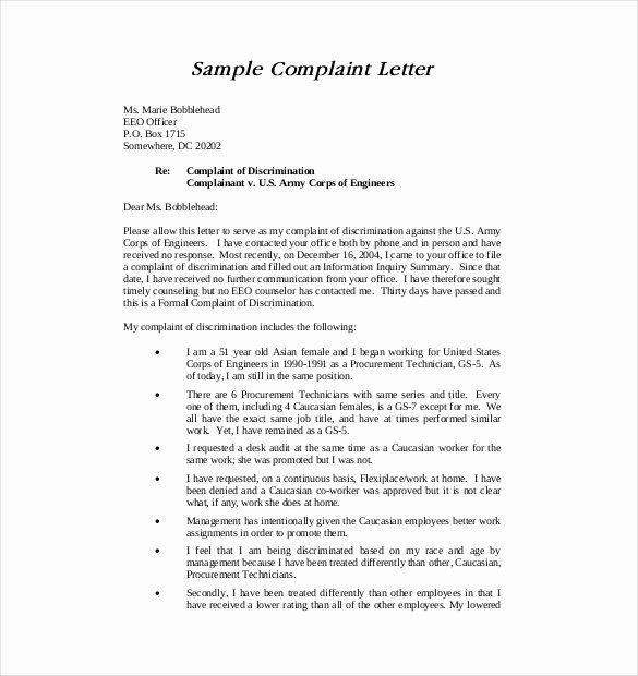 Formal Complaint Letter Template Best Of 19 Letter Of Plaint Templates Doc Pdf