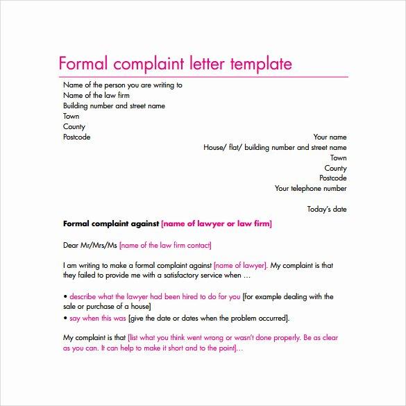 Formal Complaint Letter Template Elegant Free 17 Sample Plaint Letters In Google Docs