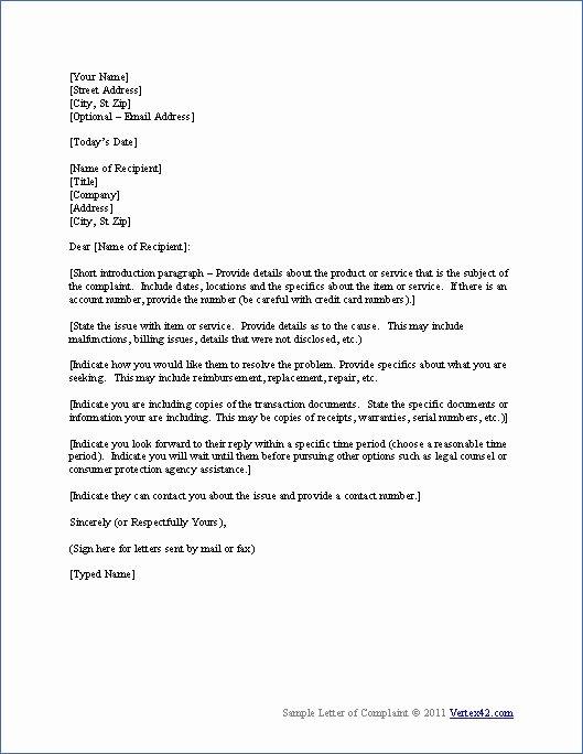 Formal Complaint Letter Template Unique Download the Plaint Letter Template From Vertex42
