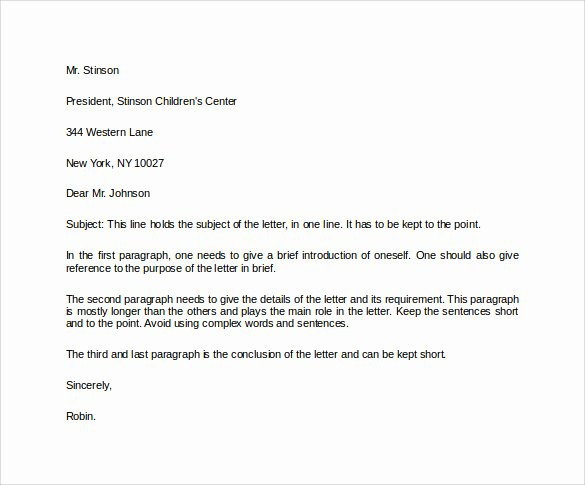 Formal Letter Heading Example Awesome formal Business Letter format 19 Download Free