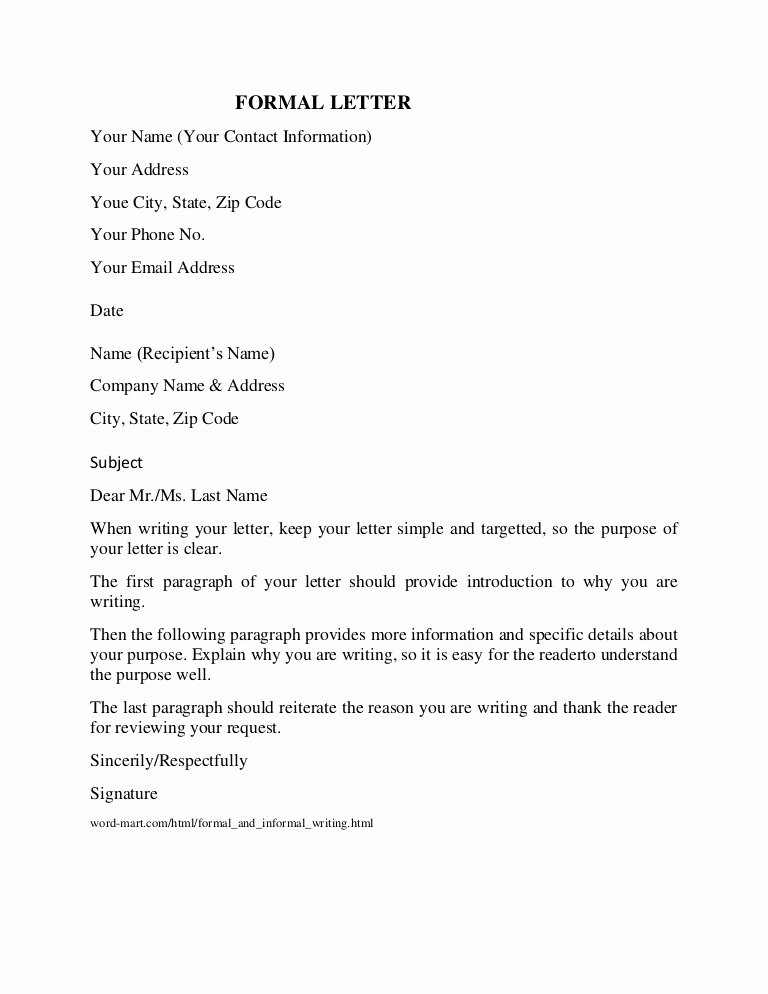 Formal Letter Heading Example Best Of formal Letter format