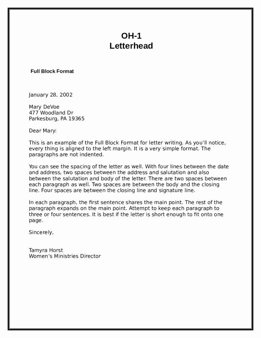 Formal Letter Heading Example Lovely 5 Block Letter formats Word Excel Templates