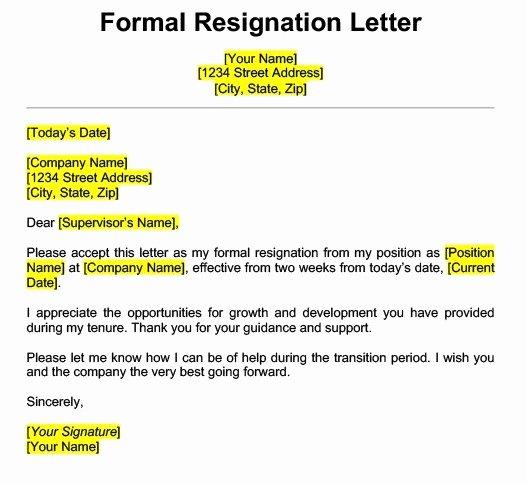 Formal Letters Of Resignation Lovely Get Best Resignation Letter Sample with Rreason