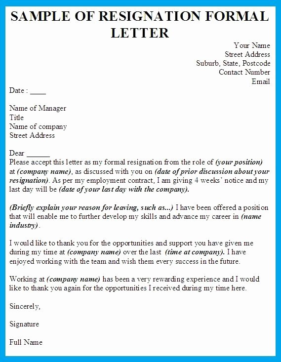 Formal Letters Of Resignation New formal Resignation Letter Template