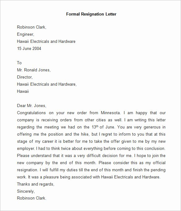 Formal Letters Of Resignation Unique Resignation Letter Template 25 Free Word Pdf Documents