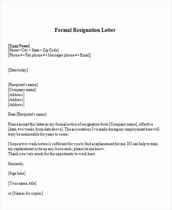 Formal Resignation Letter Samples Best Of 65 Sample Resignation Letters