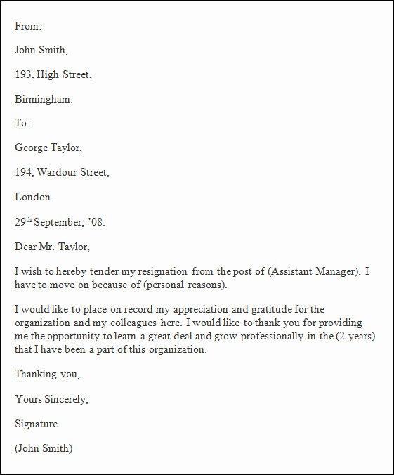 Formal Resignation Letter Samples Inspirational Free 40 formal Resignation Letters Templates In Pdf