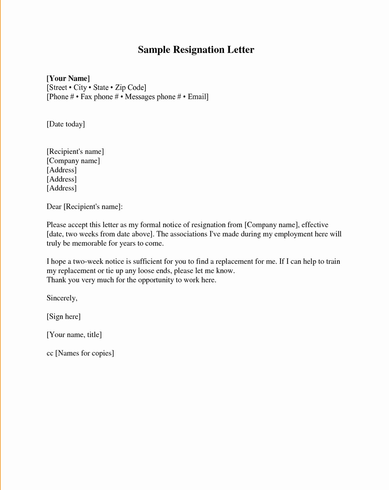 Formal Resignation Letters Sample Awesome Resignation Letter Samples Download Pdf Doc format