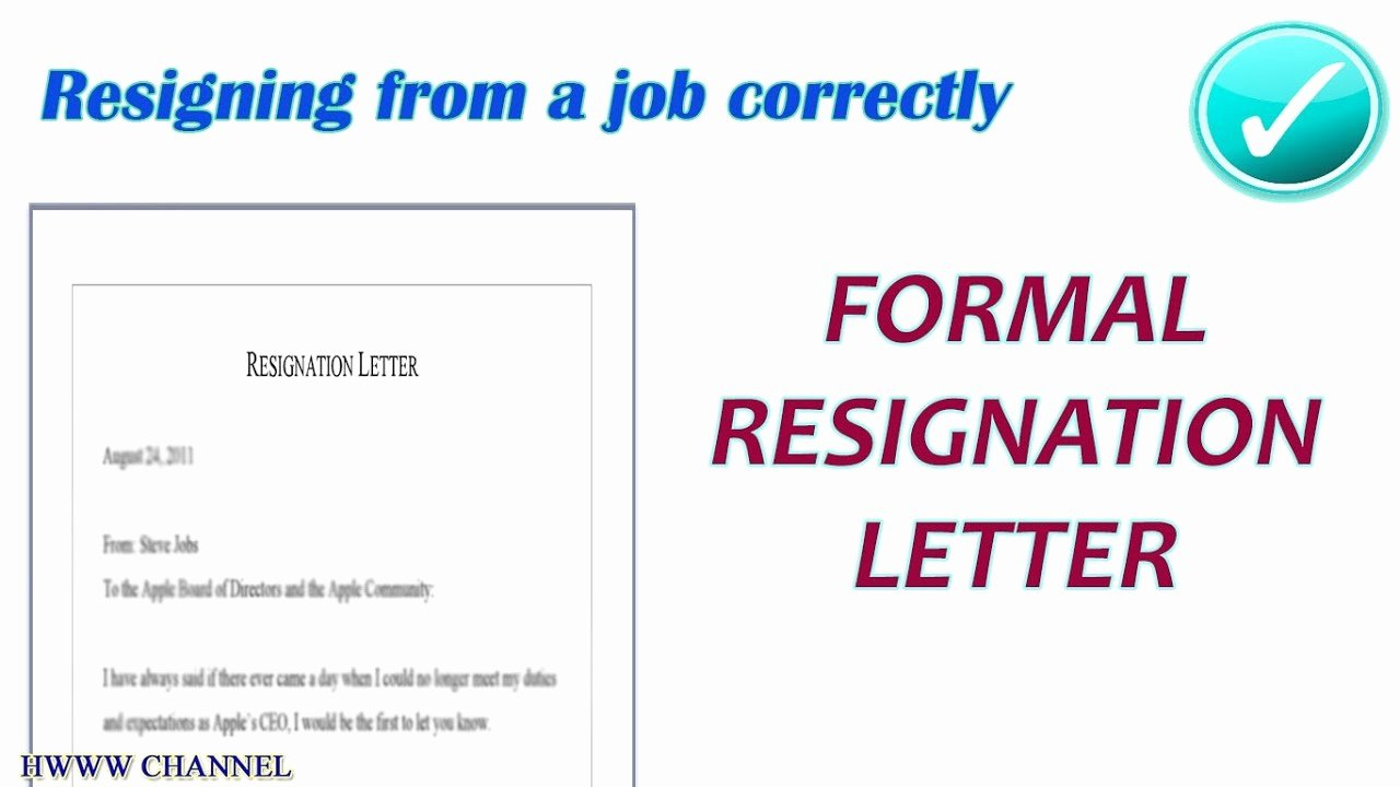 Formal Resignation Letters Sample Inspirational formal Letter Of Resignation Sample formal Resignation