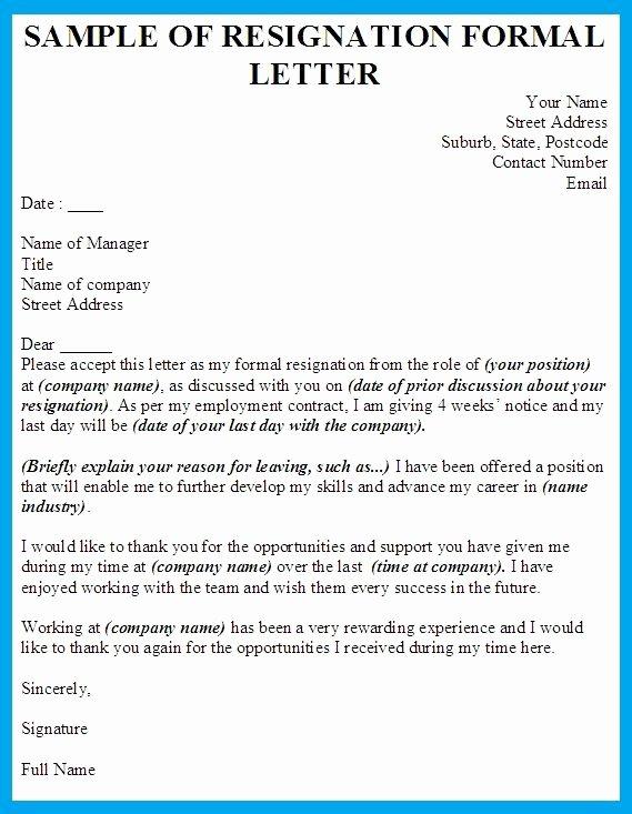 Formal Resignation Letters Sample New formal Resignation Letter Template