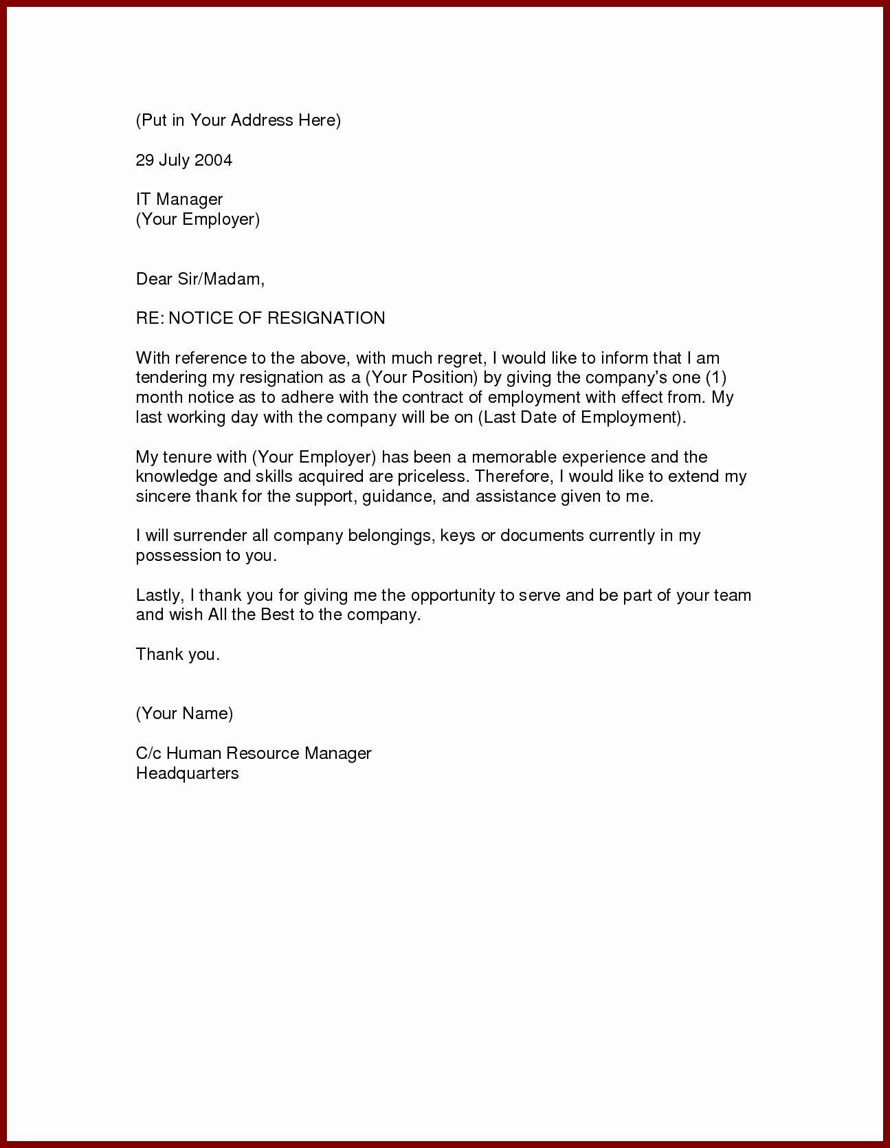 Formal Resignation Letters Sample Unique formal Resignation Letter 1 Month Notice